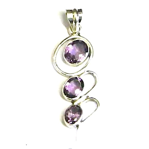 Amethyst Faceted 3 Cab Pendant