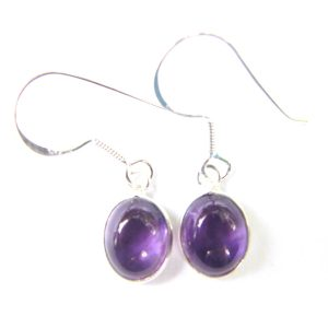 Amethyst Dainty Oval Earrings