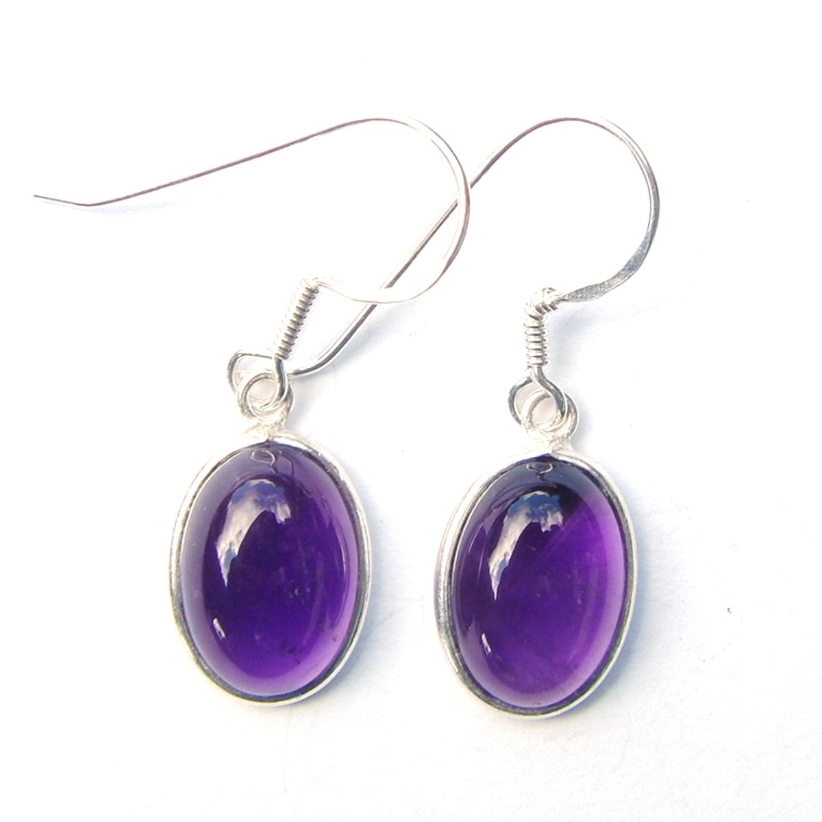 Amethyst Large Oval Earrings