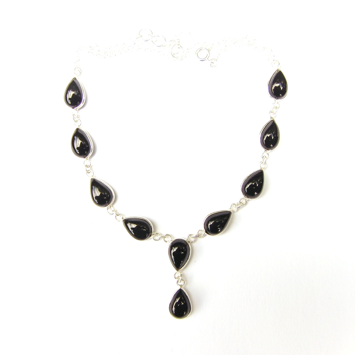 Black Onyx Large Teardrop Necklace.