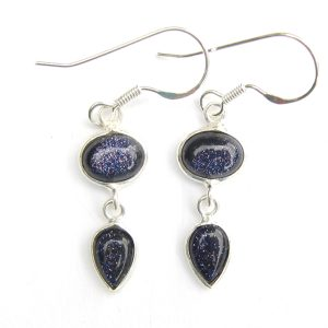Blue Goldstone Drop Earrings.