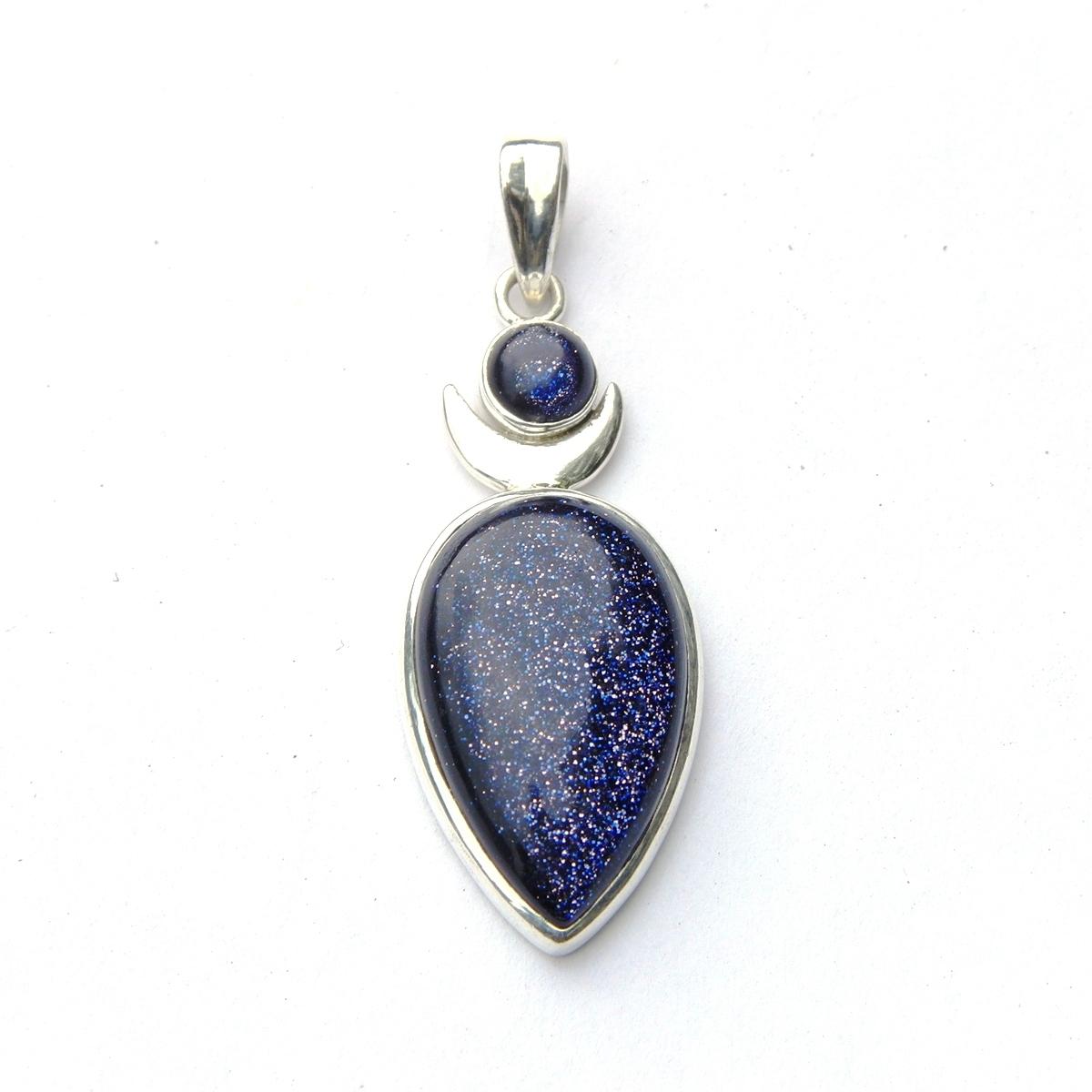 Blue Goldstone Goddess Pendant