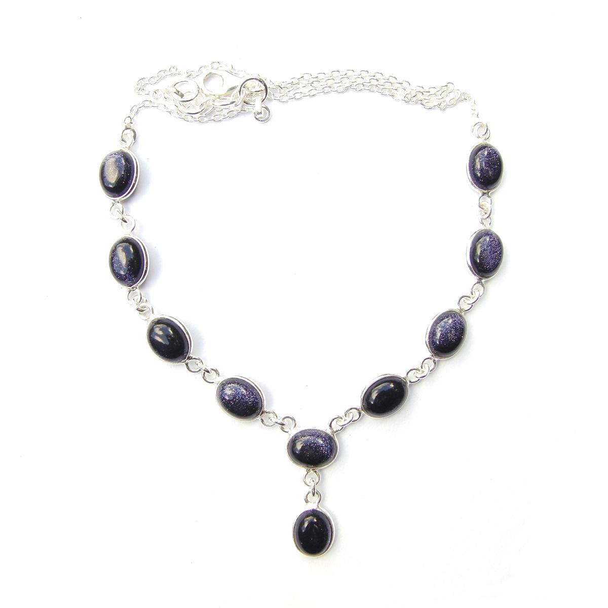 Blue Goldstone Oval Necklace