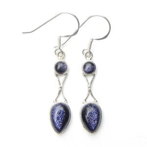 Blue Goldstone Goddess Earring