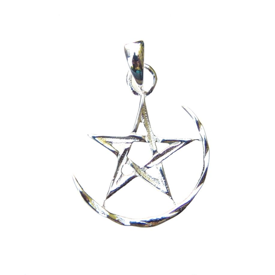 Crescent Moon Pentagram Pendant.