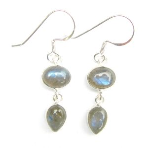 Hand Made Labradorite Double Drop Earrings
