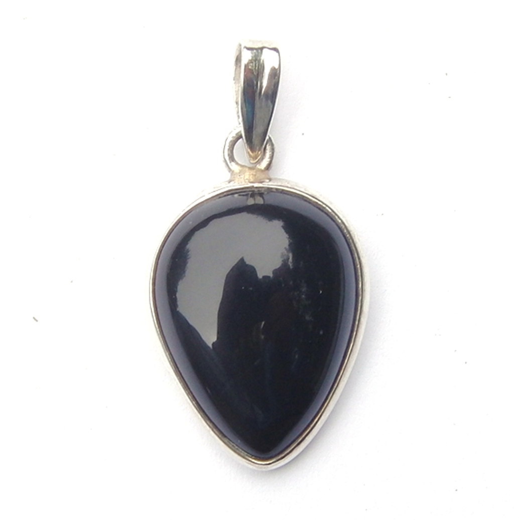 Black Onyx Inverted Teardrop Pendant.