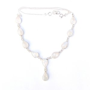 Rainbow Moonstone Teardrop Necklace.