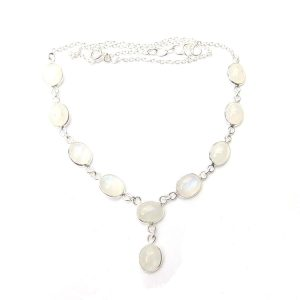 Rainbow Moonstone Oval Necklace