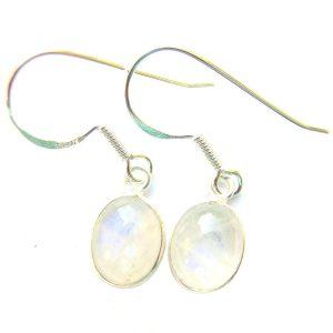 Rainbow Moonstone Dainty Oval Earrings