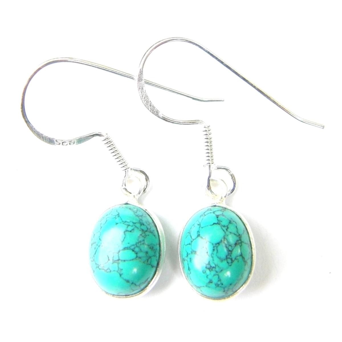 Turquoise Dainty Oval Earrings