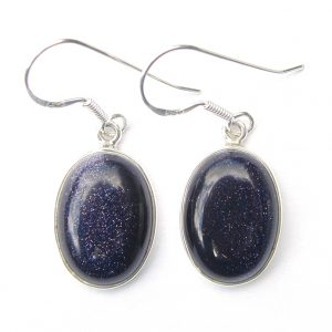 Blue Goldstone Large Cab Earrings.