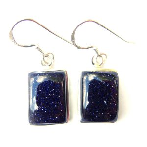 Blue Goldstone Rectangle Earrings.