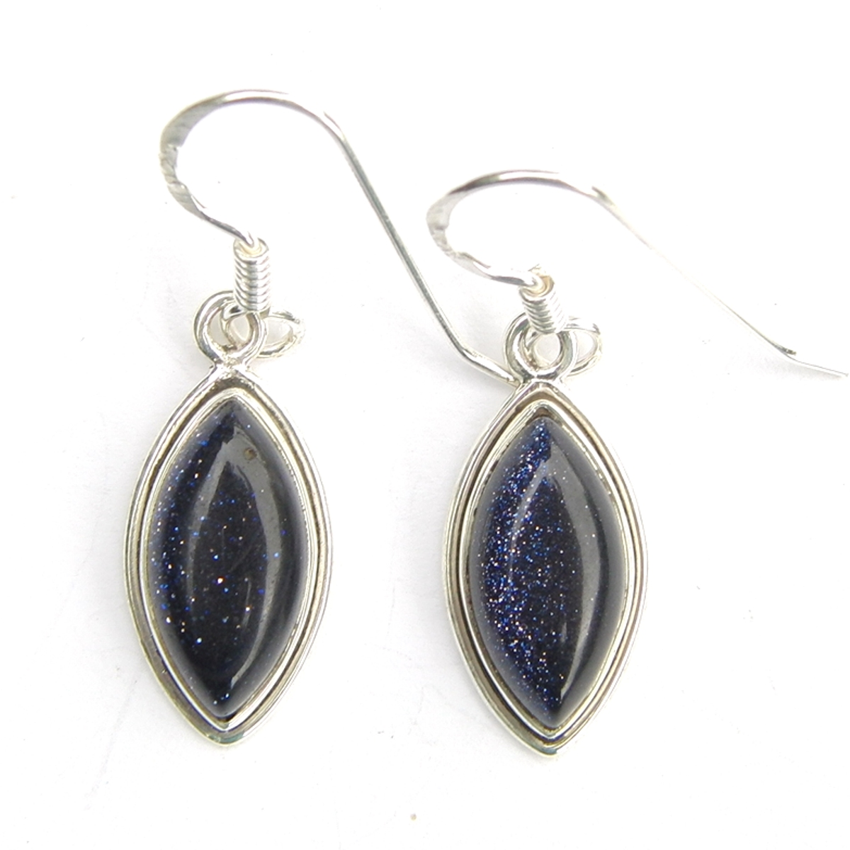 Blue Goldstone Marquise Earrings