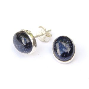 Blue Goldstone Large Studs.