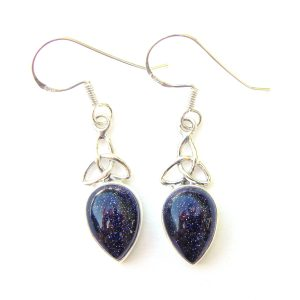 Blue Goldstone Triquetra Earrings