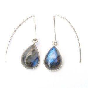 Labradorite Long Hook Earrings