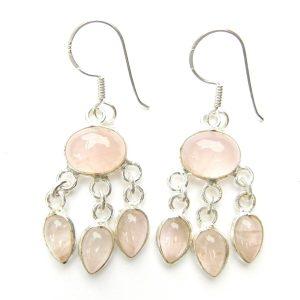 Rose Quartz Triple Drop Earrings