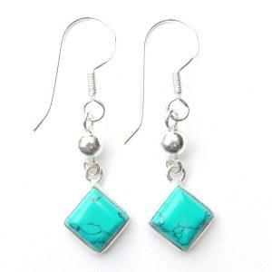 Turquoise Diamond Earrings.
