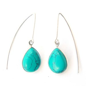 Turquoise Long Hook Earrings.