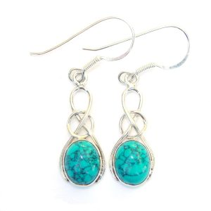 Turquoise Oval Knot Earrings.