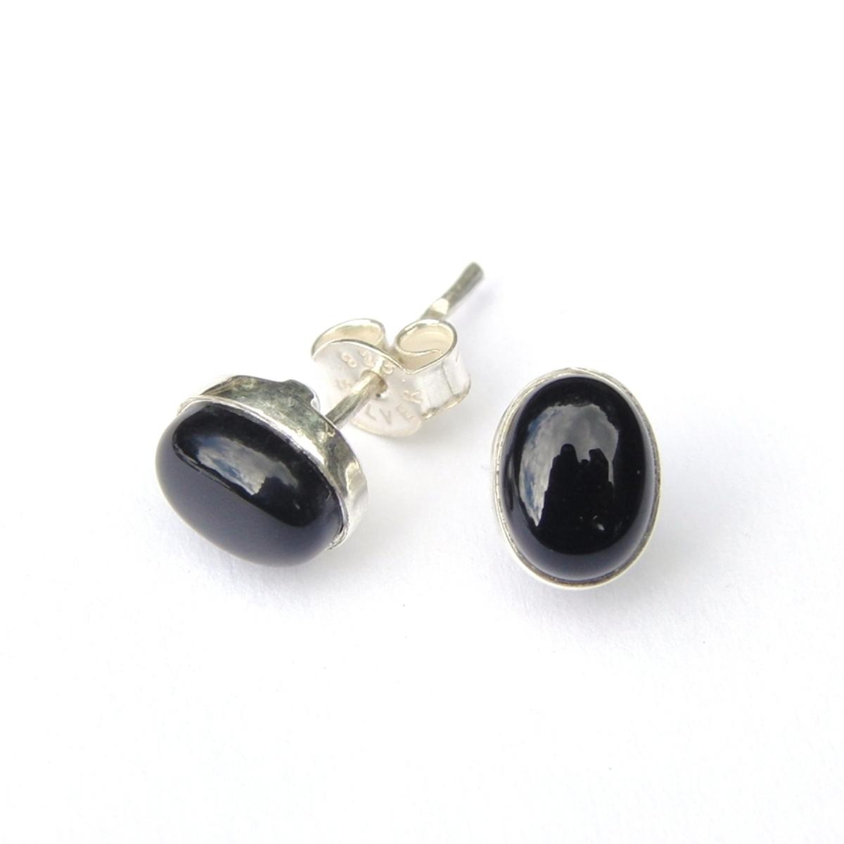 Black Onyx Small Oval Studs