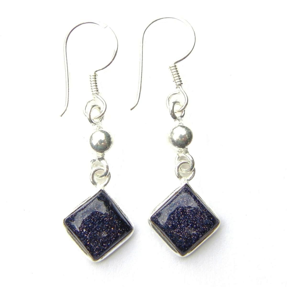 Blue Goldstone Diamond Earrings.