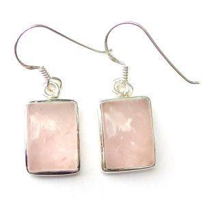 Rose Quartz Rectangular Earrings