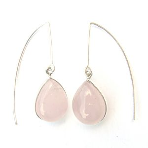 Rose Quartz Long Hook Earrings