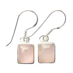 Rose Quartz Rectangle Earrings