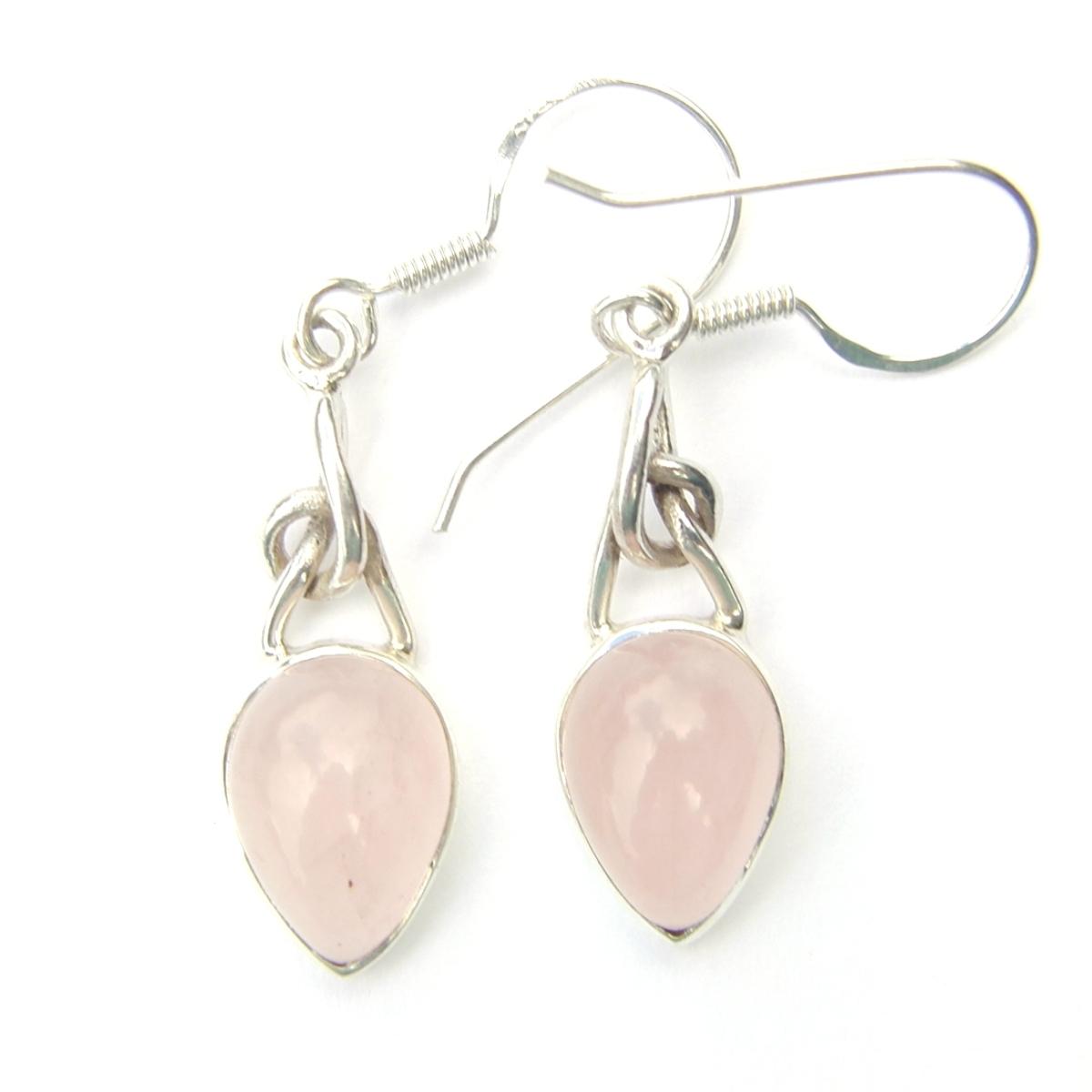 Rose Quartz Knot Earrings