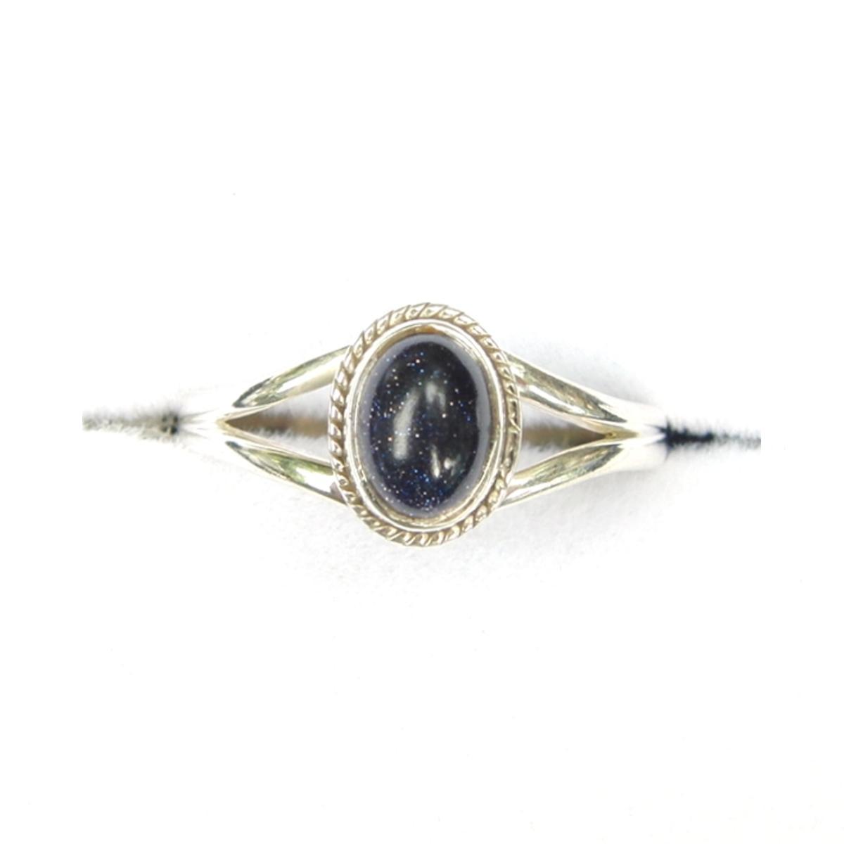 Blue Goldstone Dainty Ring.