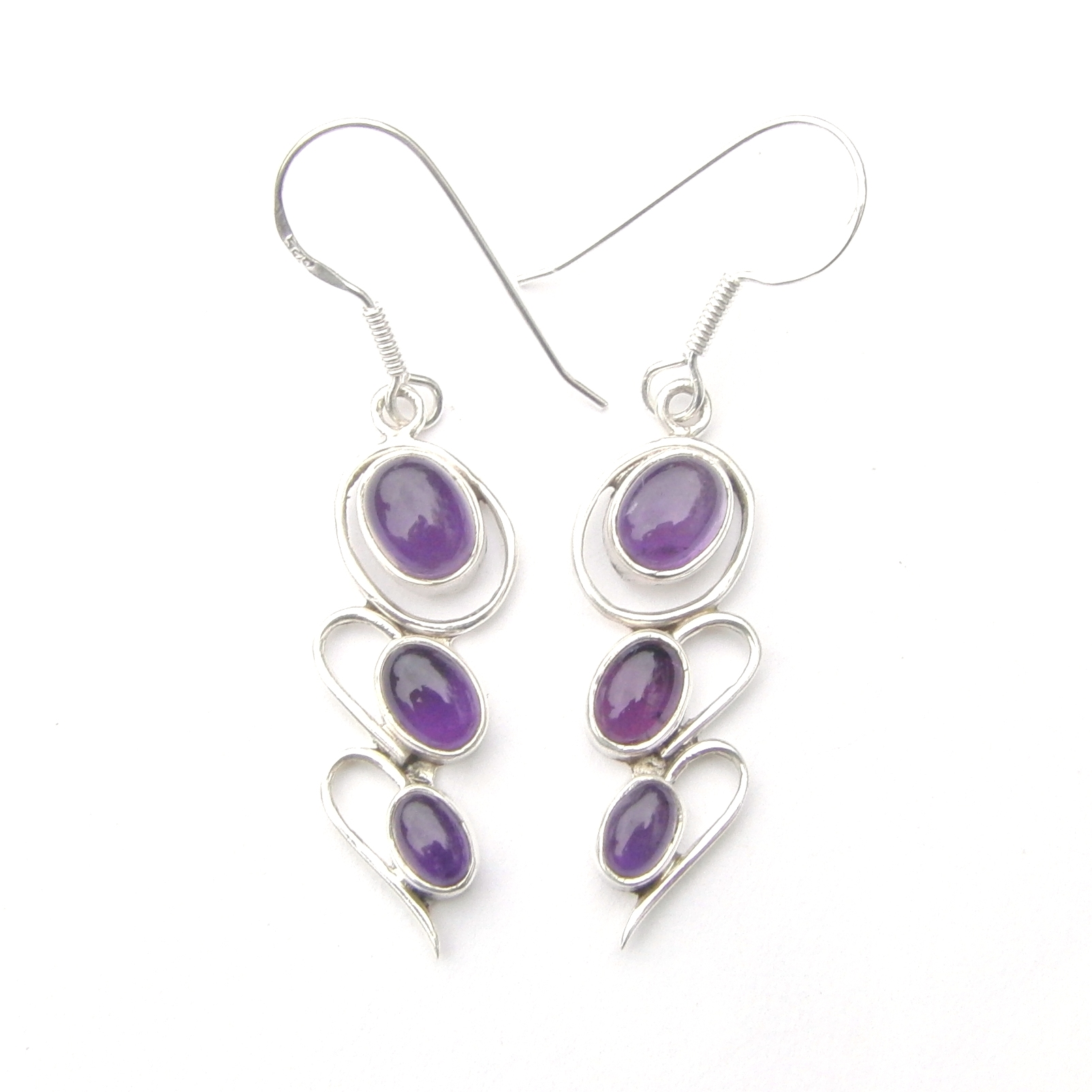 Amethyst 3 Cab Earrings.