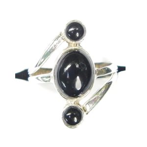 Black Onyx Triple Drop Ring.
