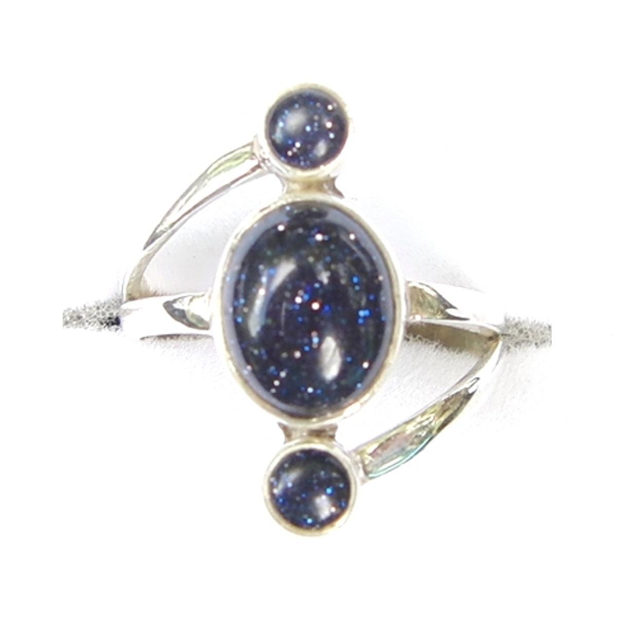 Blue Goldstone Triple Drop Ring.