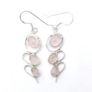 Rose Quartz 3 Cab Earrings.