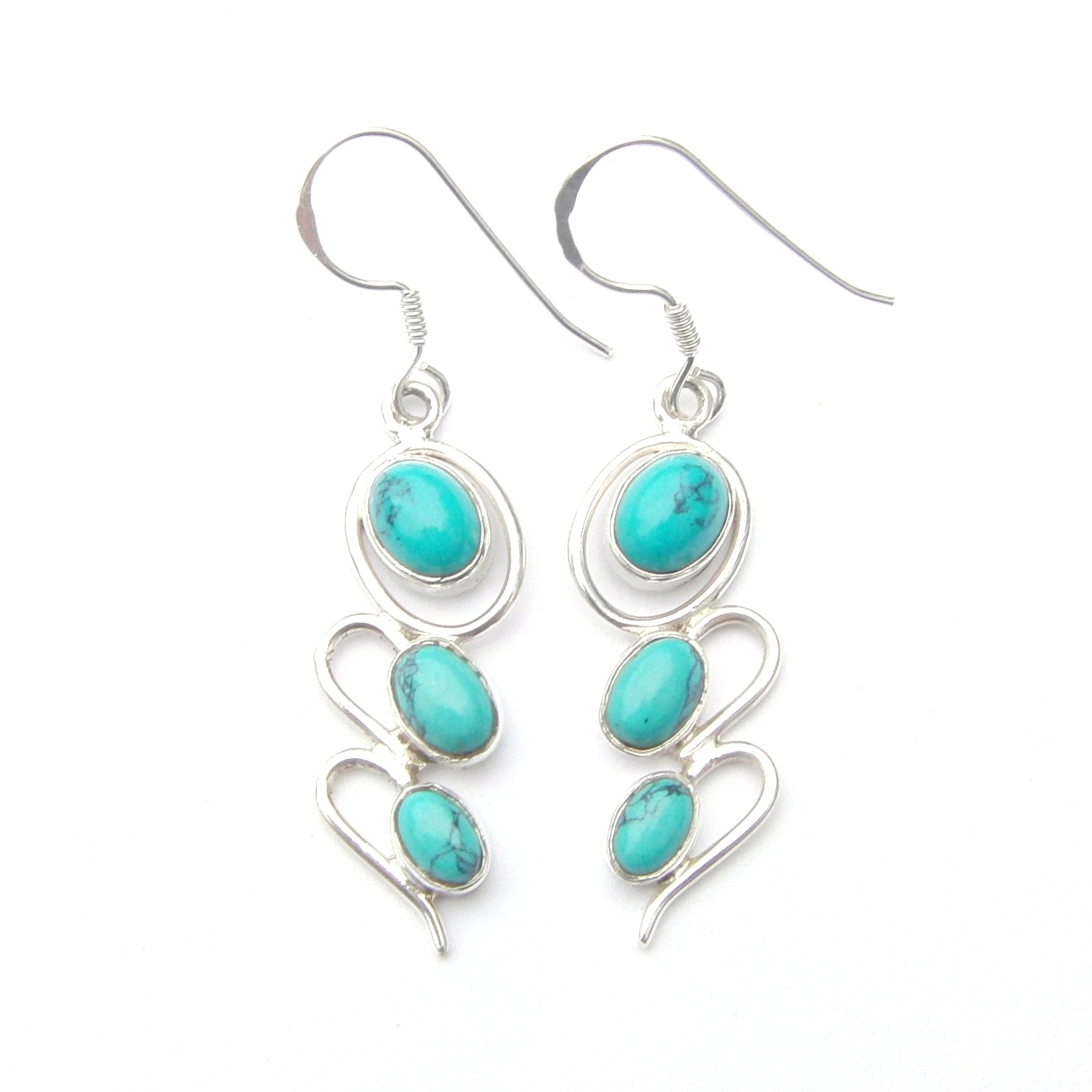 Turquoise 3 Cab Earrings.