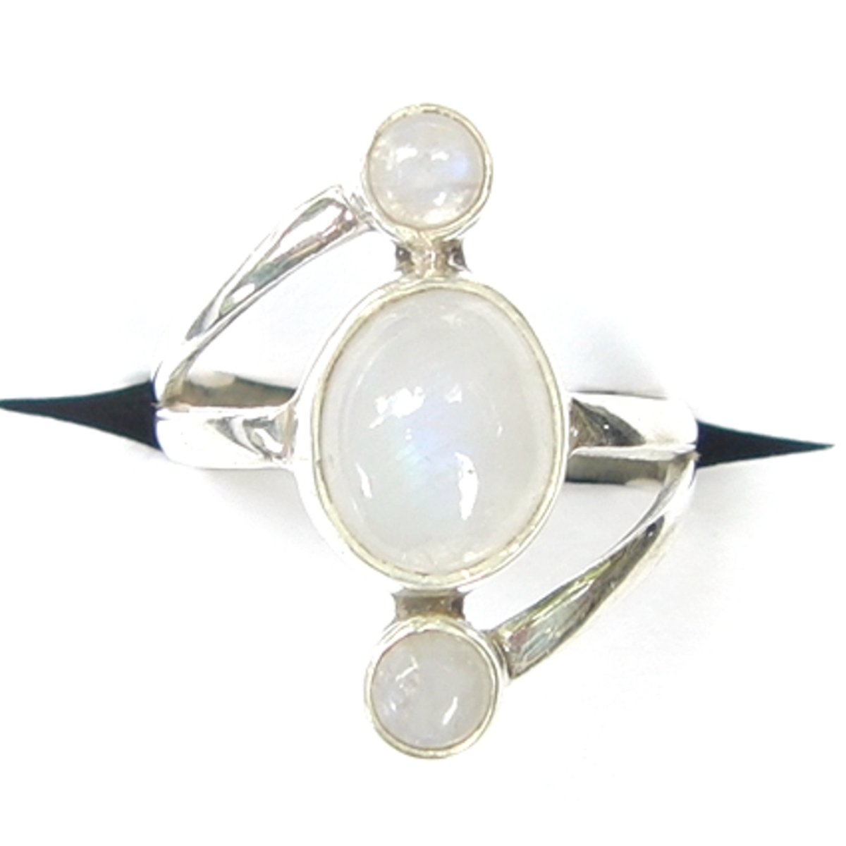 Rainbow Moonstone Triple Drop Ring.