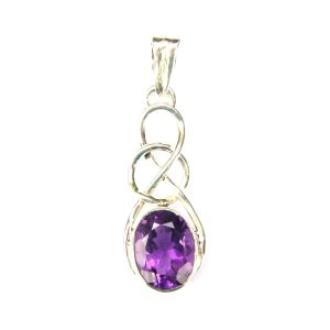 Faceted Amethyst Knot Pendant.