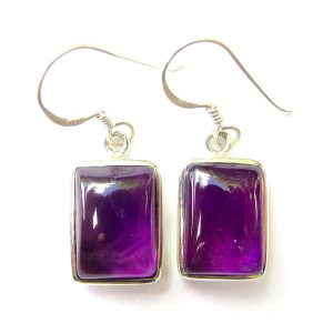 Amethyst Large Rectangle Earrings