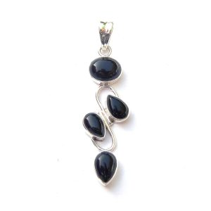Black onyx pendants archives silver jewellery cavern wholesale black onyx 4 cab pendant aloadofball Image collections