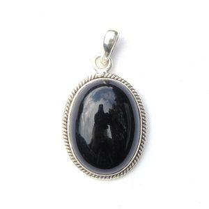 Dainty Black Onyx Oval Pendant.