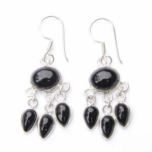 Black Onyx Triple Drop Earrings