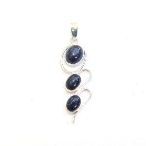 Blue Goldstone Triple Drop Pendant.