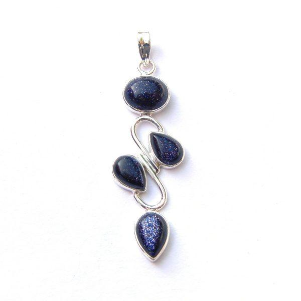 blue goldstone 4 cab pendant silver jewellery cavern