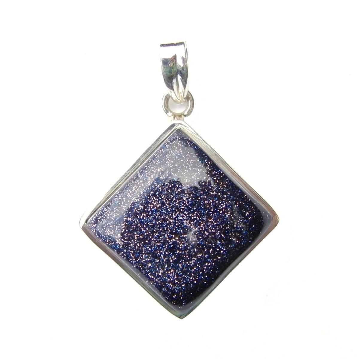 Blue Goldstone Diamond Pendant.
