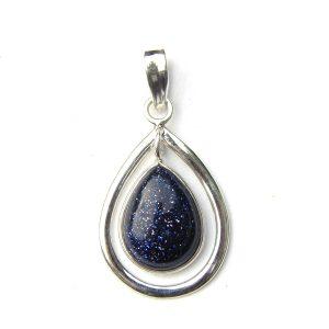 Pretty Blue Goldstone Pendant.