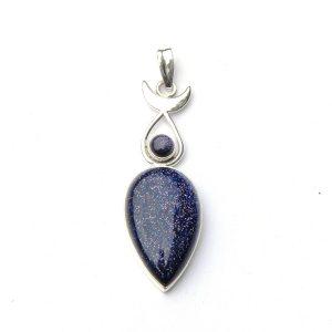 Blue Goldstone Moon Goddess Pendant.