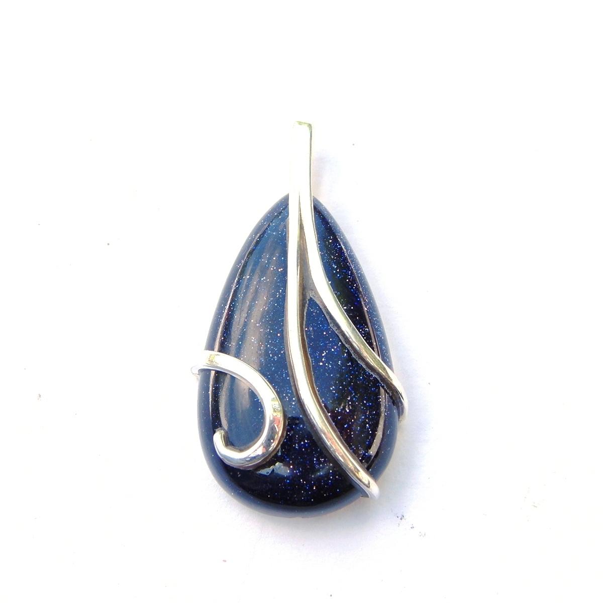 Blue Goldstone Wrapped Pendant.