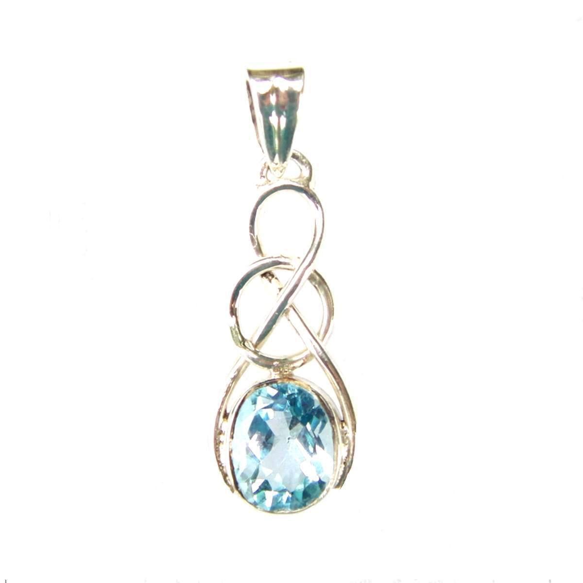blue topaz celtic knot pendant